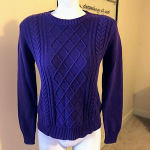 CHAPS Purple Cable Crew Neck Sweater